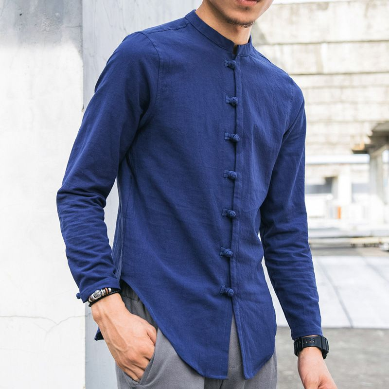 373207030 Designer Chinese Style Loose Stand Color Linen Shirts for Men - NewChic  Mobile
