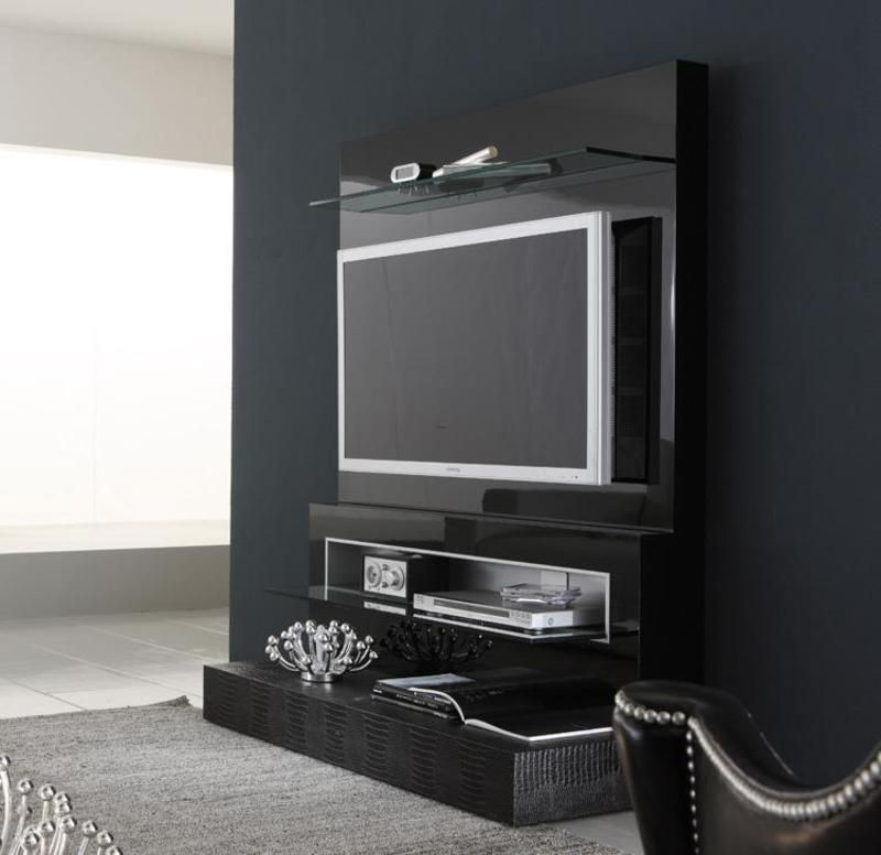 Black Wall Mounted TV Design | Home decor ideas.... | Tv wall ...