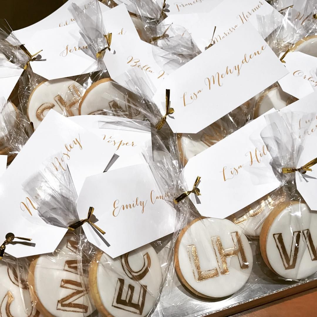 Monogrammed personalised cookies with hand painted gold initials ...