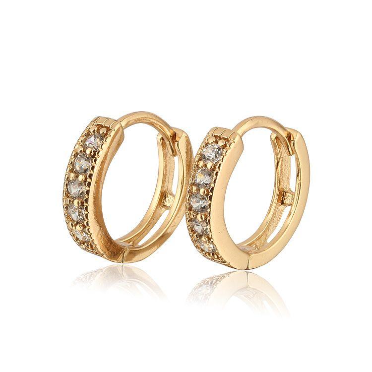 Aliexpress Sale Heart Zircon Earrings For Children Gold Plated ...