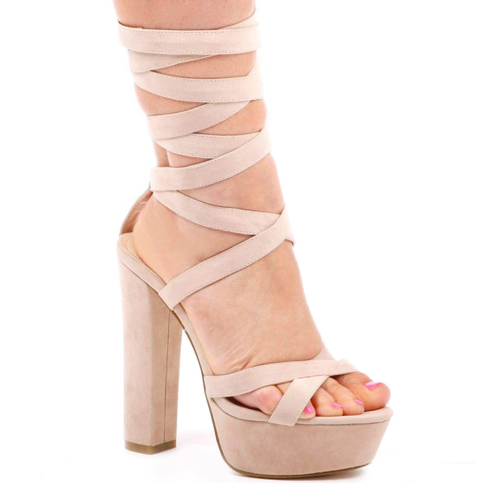 Indie Lace up platform cross front faux suede heel in nude ...