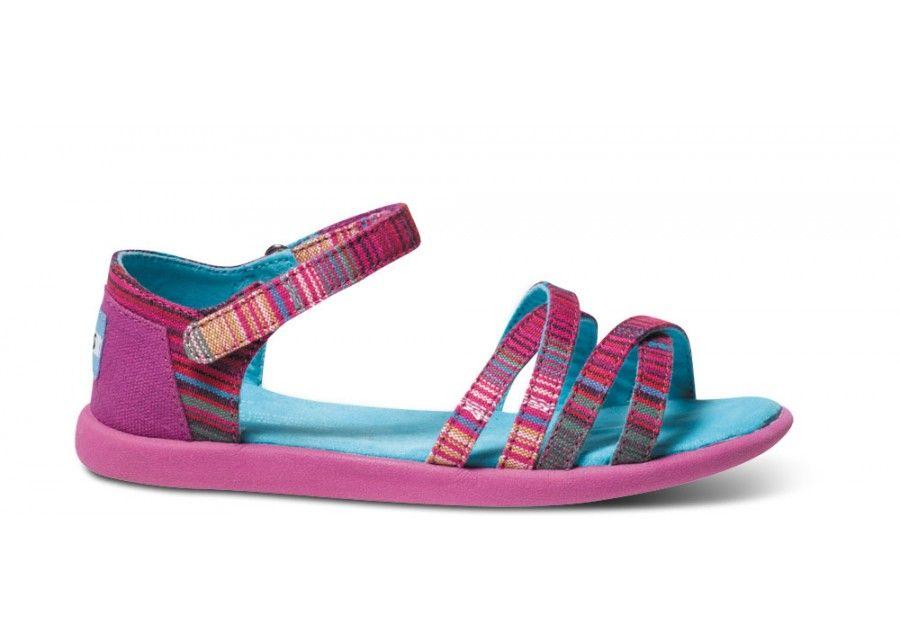 235d173ace Pink Serape Vegan Youth Sandals side   Mini Me   Sandals, Pink ...