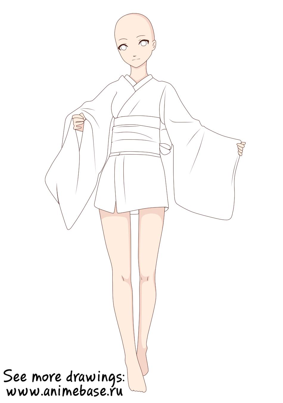 Yukata (Short kimono) — Юката (Короткое кимоно) аниме манекен в одежде clothes anime base ych pose