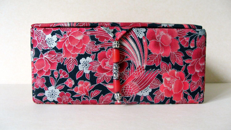 red fabric jewelry box decorative storage box or keepsakes box by