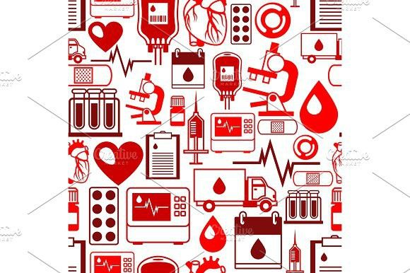Seamless pattern with blood donation items Medical and health care