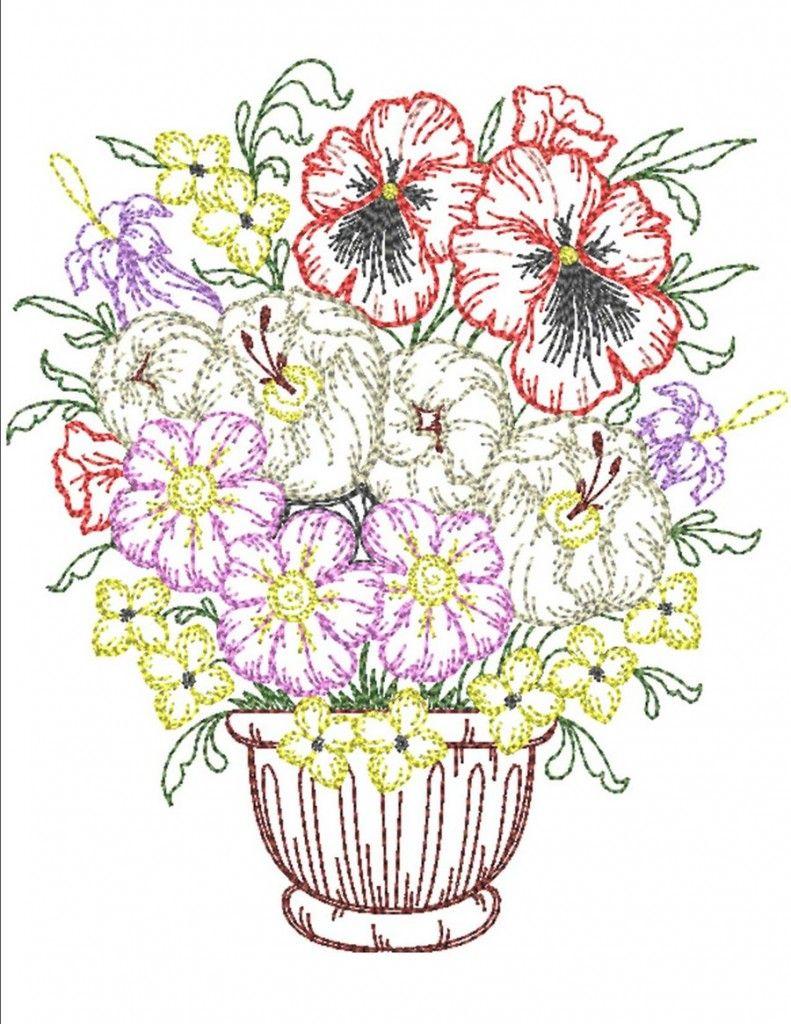 Timeless spring planters vorlagen pinterest machine embroidery