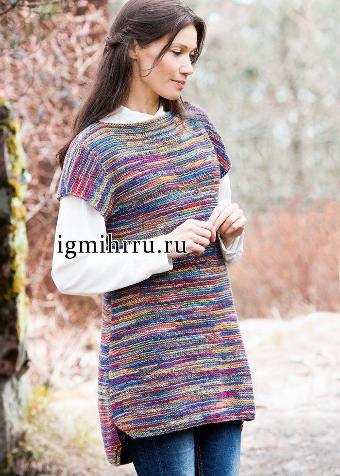 d4c1e518d22c Шерстяная туника из разноцветной меланжевой пряжи. Вязание спицами ...