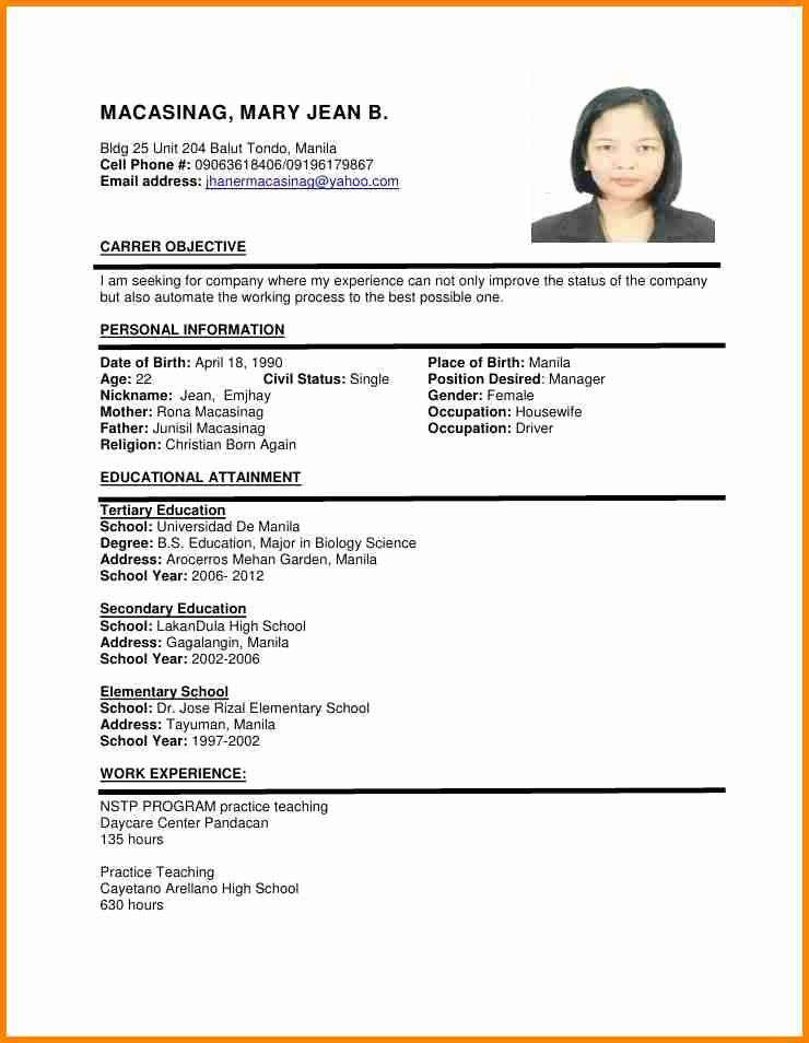Resume with Picture Template Lovely 6 Example Of Filipino