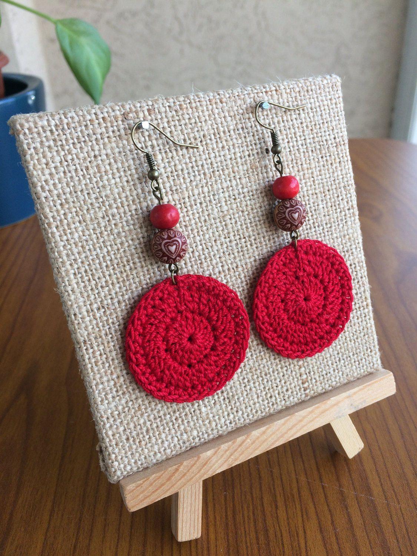 Red Crochet Earrings, Crochet Earrings, Round Earrings ...