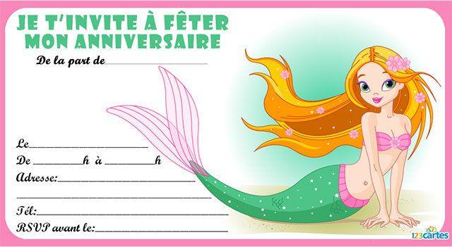 4 Invitations Anniversaire Avec Des Sirènes Gratuites à Imprimer A