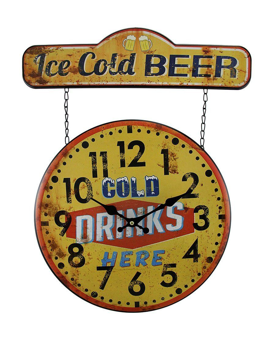 Faux Vintage Finish Metal Ice Cold Beer Sign and Wall Clock 20 Inch ...