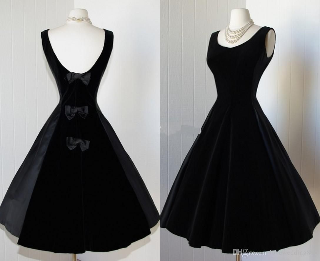 Delicate black satin prom dresses scoop tea length backless