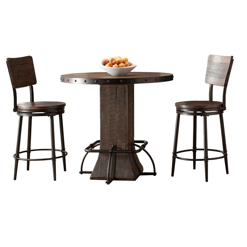 Jennings 5pc round counter height dining set with swivel counter stools distressed walnut brown