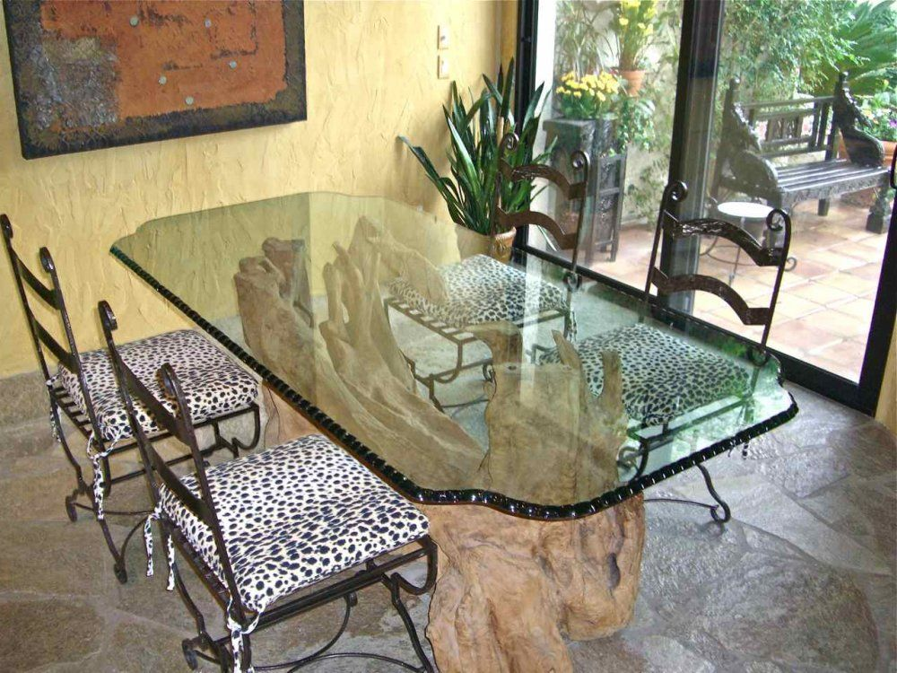 Chipped  Polished Edge Dining Room Table Top - glass dining table