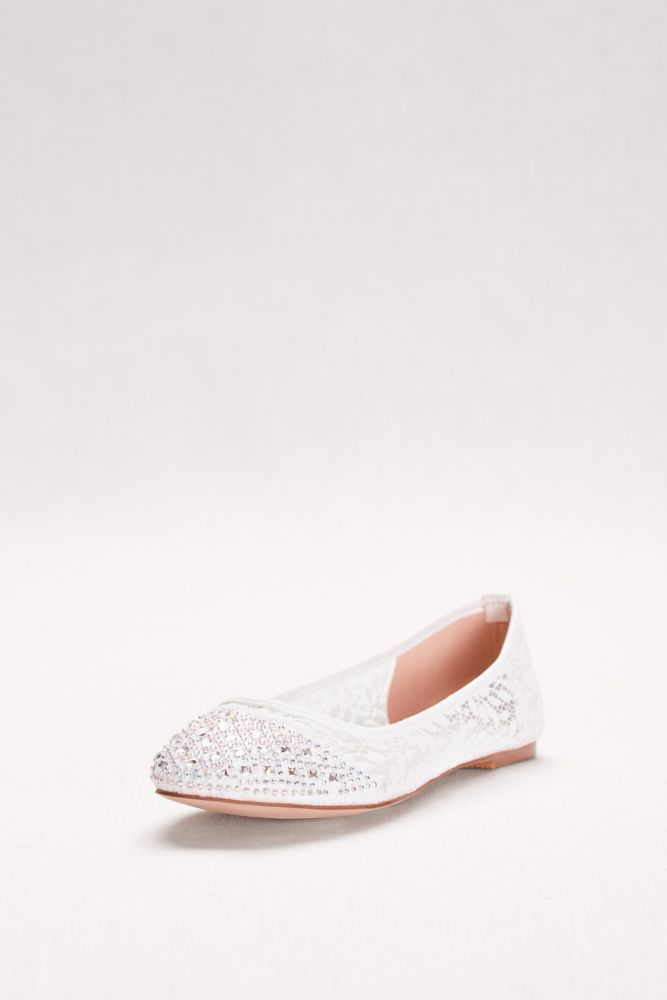 e8a795c6727 Embroidered Lace Ballet Flats - White
