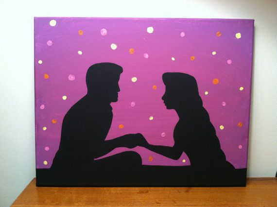 rapunzel and flynn rider silhouette on stretched