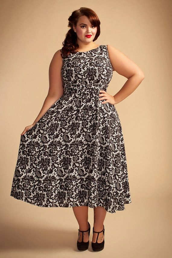 Glamorous Black & White Lace Print Plus Size Dress by Pionna ...
