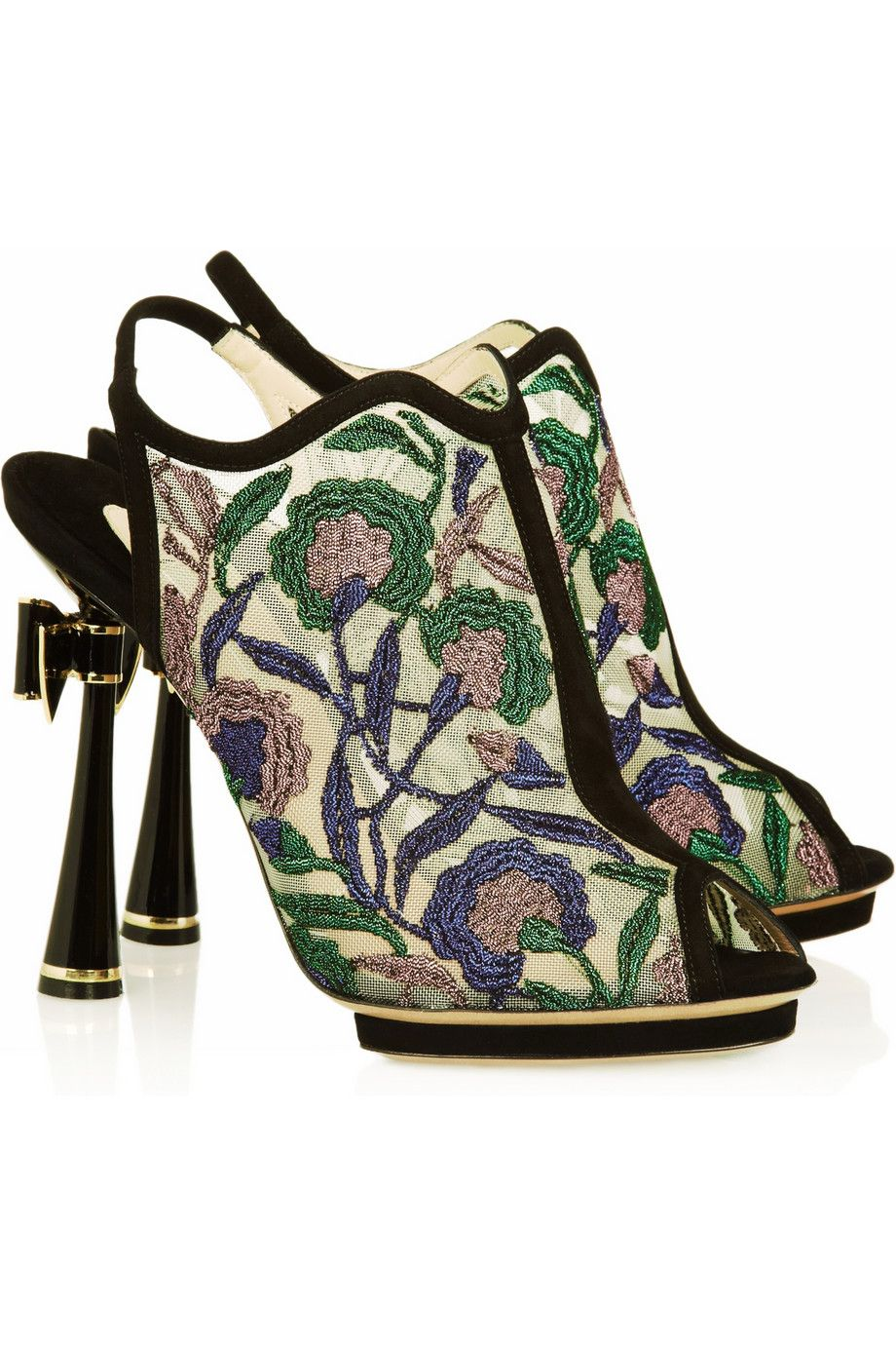 8224cf1e4c4 Metallic floral-embroidered mesh sandals by Nicholas Kirkwood ...