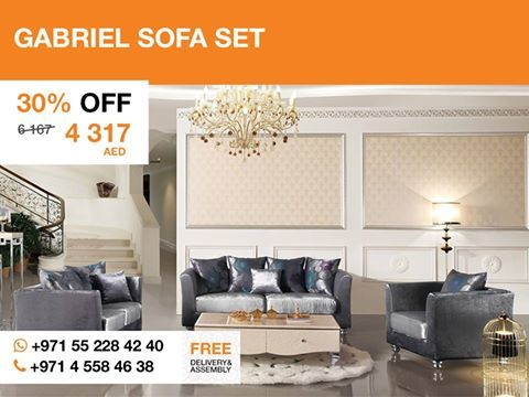 The Gabriel sofa set provides all the function and comfort You can expect from modern sofa set. With an understated design and soft fabric that has shiny dark blue and gray color, unique-shaped metal legs that complete its brilliant look this set adds presentable tone in Your Home without leaving a bored or gaudy impression. The set includes one seater, two seater, and three seater.  More details: http://gtfshop.com/gabriel-sofa-set