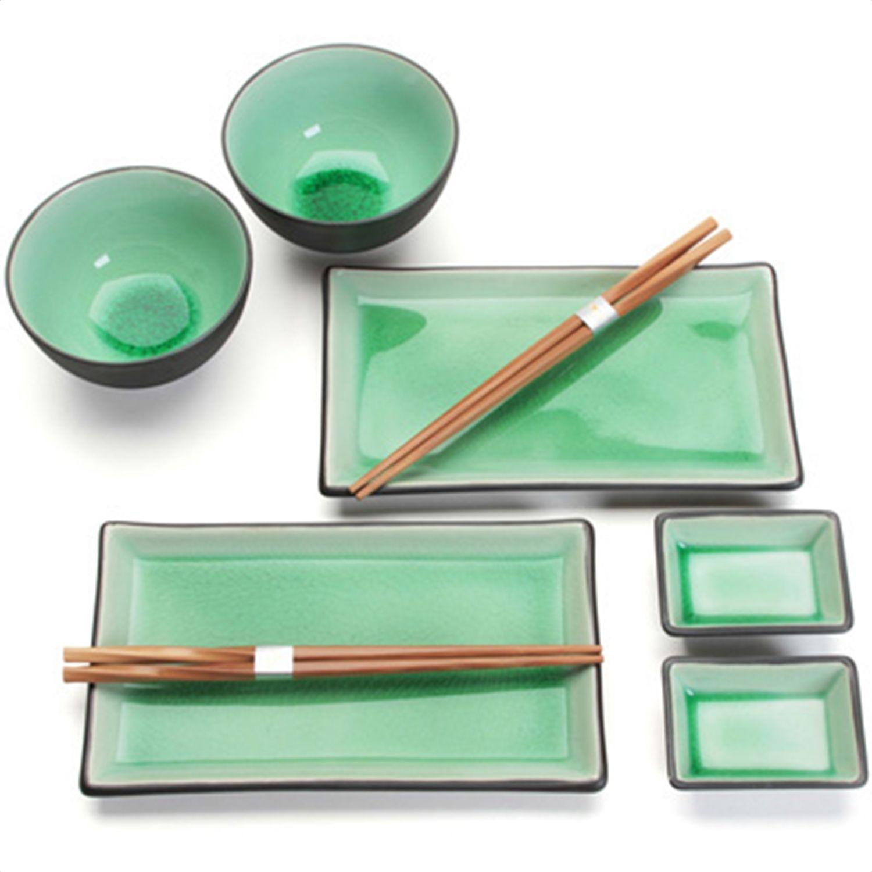 2 Reis Schalen+ 2 Essst/äbchen Steingut 2 Sauce Schalen 8-TLG Glassy Blau Set mit 2 Teller TOKYO design studio