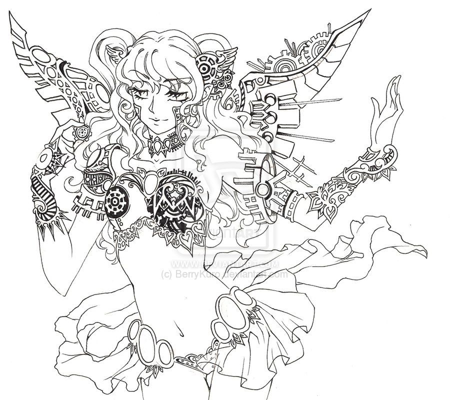 Steampunk Fairy Lineart By Berrykuro On Deviantart Animal Coloring Pages Steampunk Fairy Coloring Books