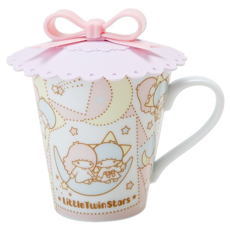 Little Twin Stars Kiki Lala Mug Cup with Silicon Lid Crescent Moon SANRIO JAPAN