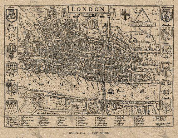 Antique map of London Instant Download image printable от UnoPrint
