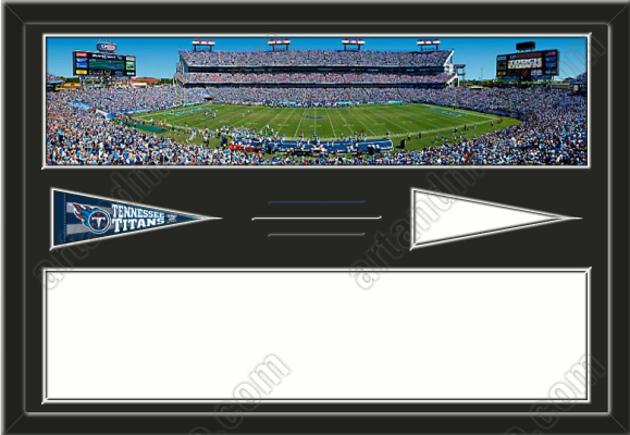 One framed large Tennessee Titans stadium panoramic with a Tennessee Titans mini pennant PLUS one large stadium panoramic and mini pennant of another team of your choice, double matted to 36 x 24 inches.  The top mat will be black.  The bottom mat will be white.  The center line will be white.  The top line shows the first team's color.  The bottom line shows the second team's color.  (Pennant designs subject to change)  $199.99 @ ArtandMore.com