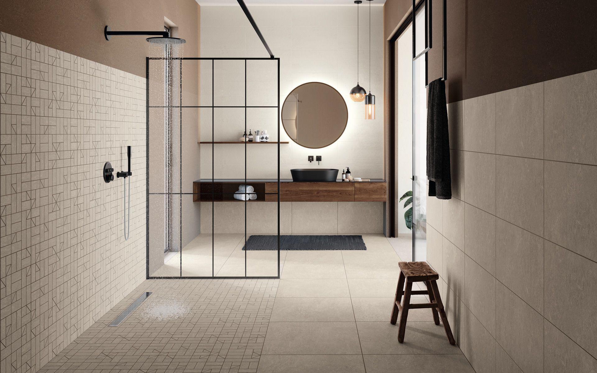 Sandige Farbtöne im Bad  Badezimmer gestalten, Walk in dusche