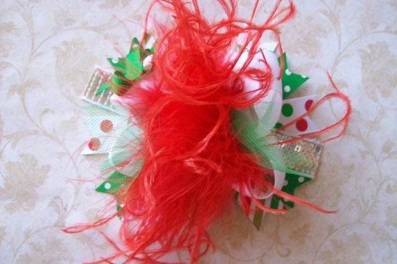 Classic ChristmasOver the Top Hair Bow with by bowdaciousbows417, $11.99