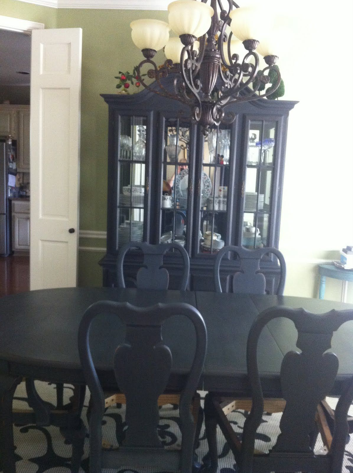 Painted Dining Table And China Cabinet Using Annie Sloan Chalk Paint Graphite
