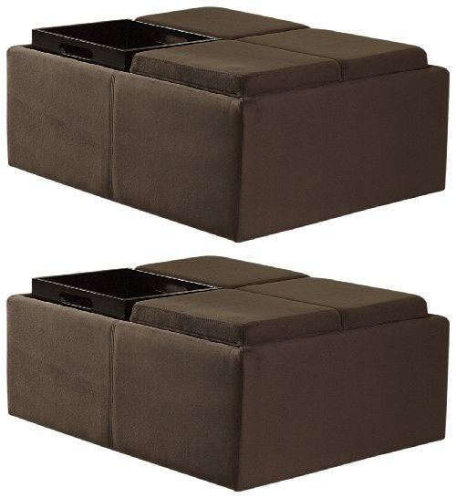 Homelegance Contemporary Storage Ottoman with Four Flip Top Tray Inserts,  Mocha Microfiber - Homelegance Contemporary Storage Ottoman With Four Flip Top Tray