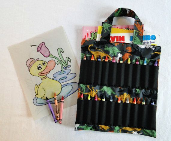 Dinosaur Coloring Book and Crayon Holder Bag/Tote by ...