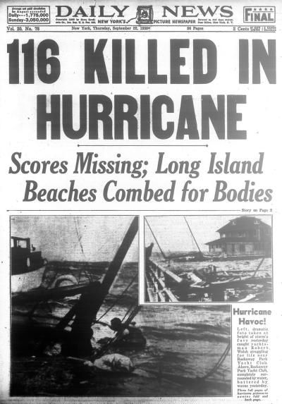 Tropical hurricane sweeps through Long Island and New England, killing more than a 100 in 1938