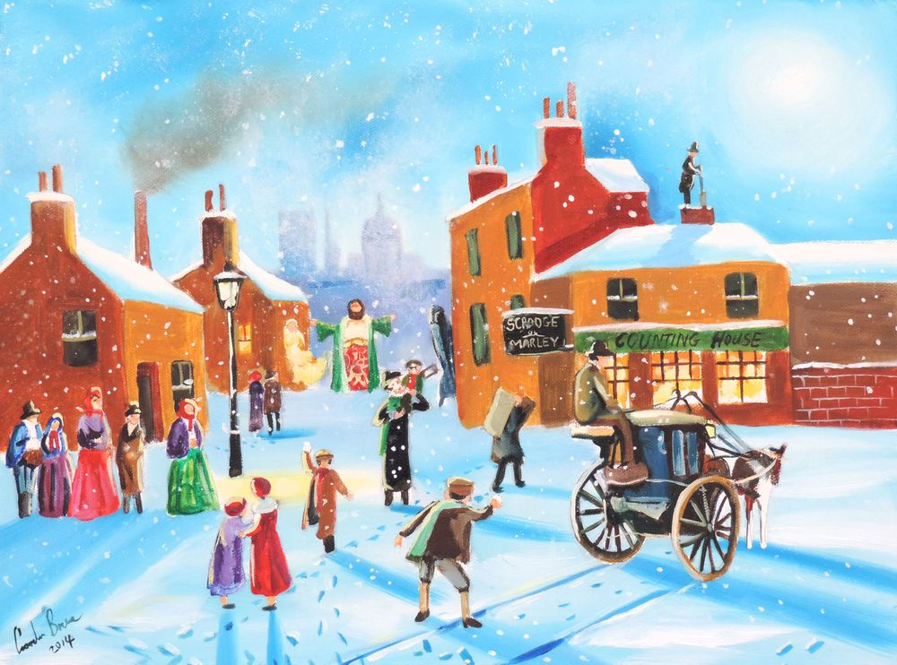 Scrooge and Tiny Tim a Christmas Carol fine art mounted print Gordon Bruce