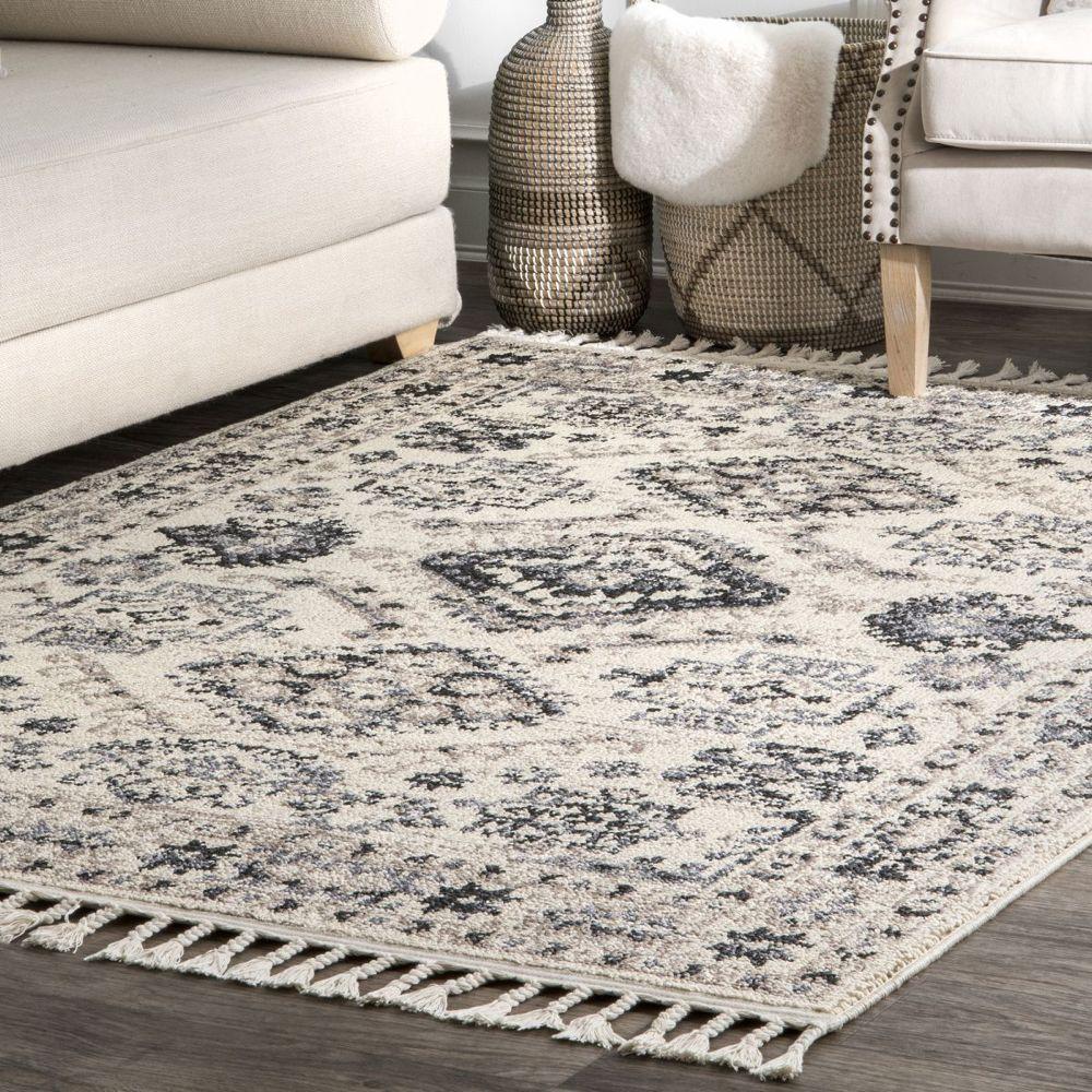 Opell Persian Braided Tassel Rug Area rugs, Black area