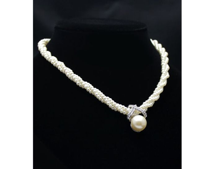 Wholesale Exaggerated Rhinestoned X-Shape Women's Faux Pearl Pendant Necklace (AS THE PICTURE), Necklaces - Rosewholesale.com
