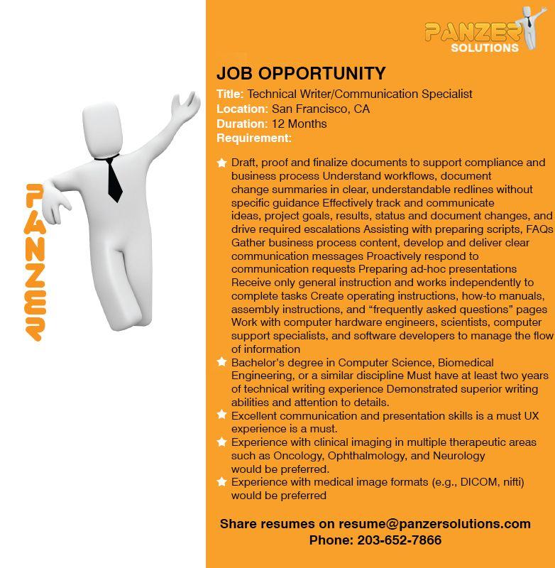 Job title technical writer communication specialist