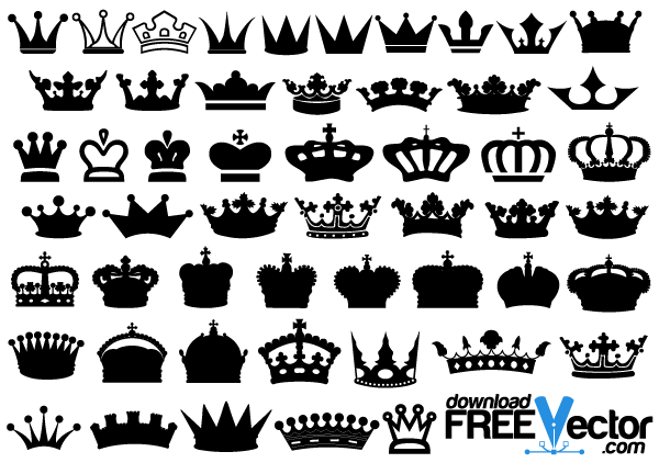 Crowns Vector Free Crown Clip Art Free Vector Art Vector Free