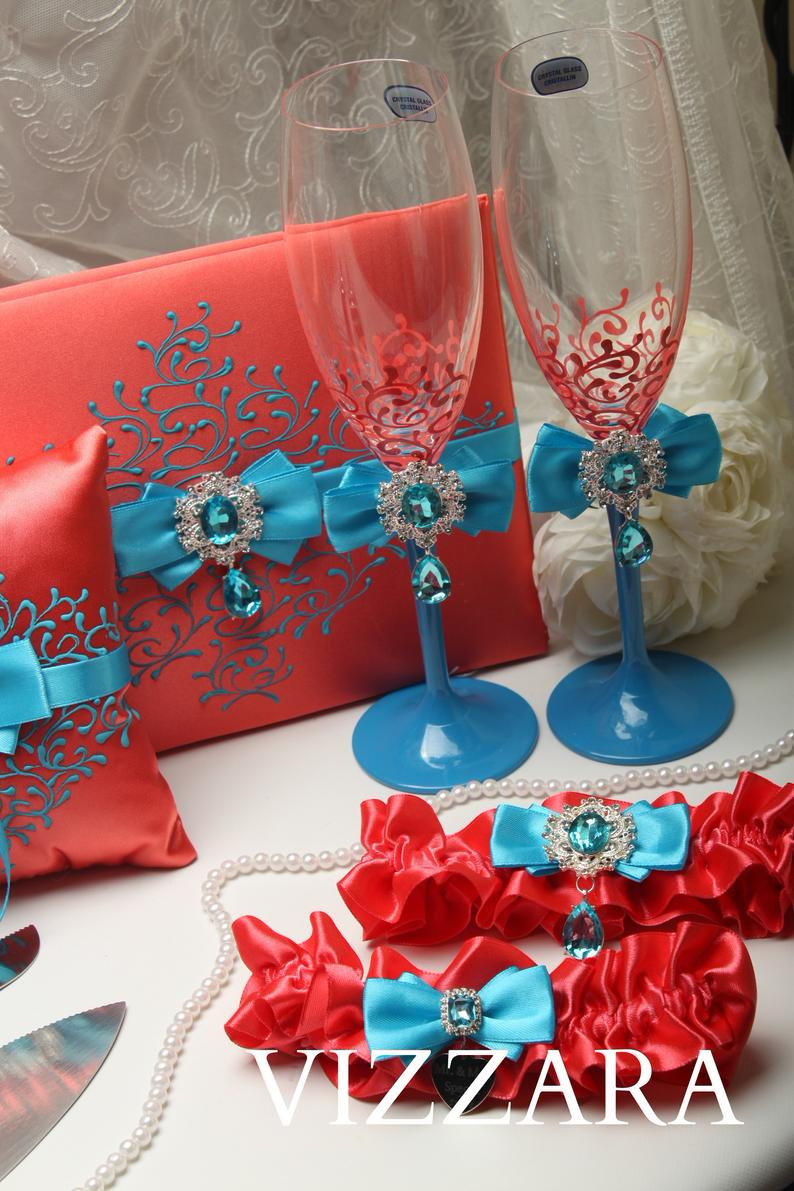 Set Coral Turquoise HAND-Painted Coral and turquoise wedding Unity candles Wedding champagne flutes Wedding money boxes Wedding garters
