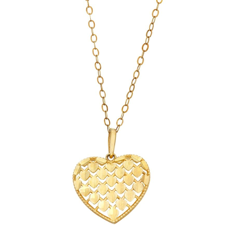 10k Gold Heart Pendant Heart Pendant Gold Heart Pendant Diamond Heart Pendant