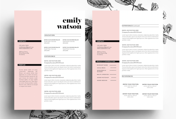 3 page cv template business card by emilys art boutique on creative market - 2 Page Resume Template