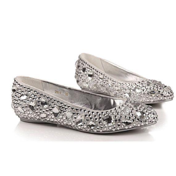 Comfortable flats silver crystal shoes for por Creativesugar, $89.00 ...