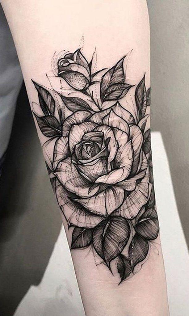 Photo of Schwarz-Weiß-Skizze Rose Forearm Tattoo-Ideen für Frauen – Ideas del tatuaje d … #tattoos – Flower Tattoo Designs – Blumen