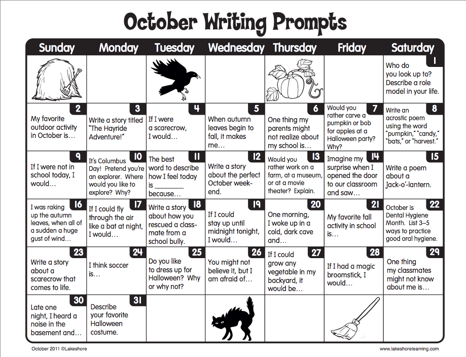 writing prompt of the day Do you need a supply of homeschool writing topics for your children, tweens, and teens do you forget to have daily journal time even though you want to develop the habit writeshop has a solution for you we've organized our most humorous, engaging.