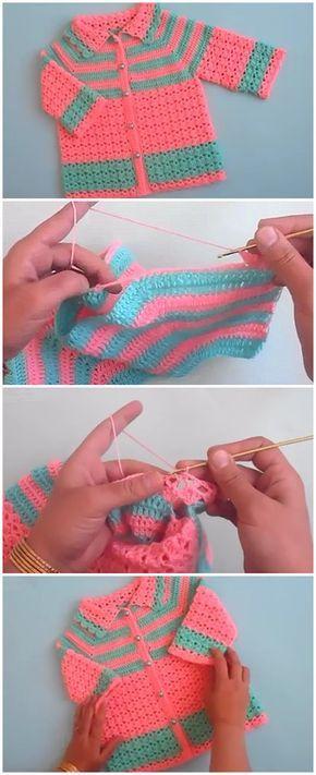How To Crochet Easy Baby Sweater Cardigan Tutorial Crochet