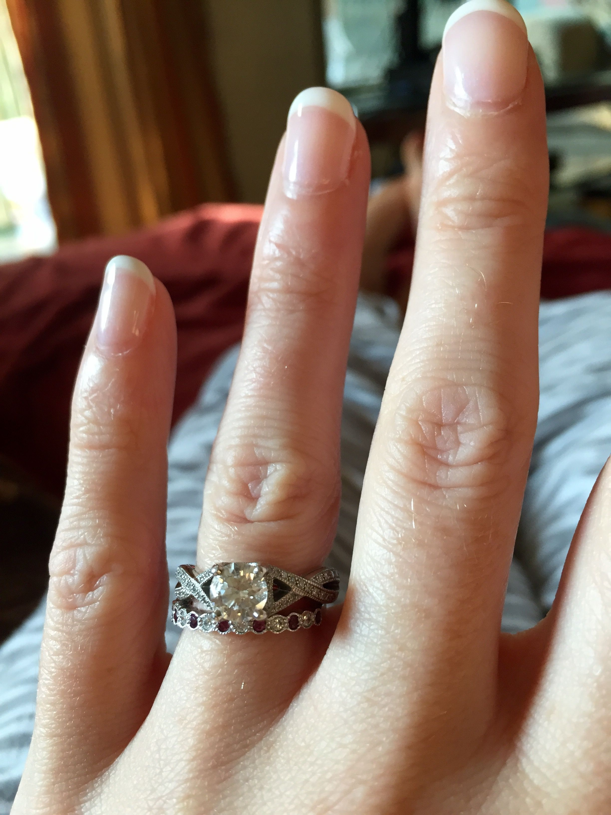 Infinity Twist Engagement Ring Eternity Straight Alternating Garnet