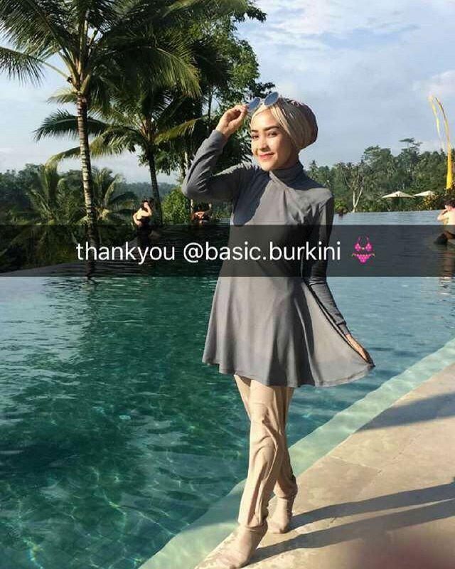 ec2cbce21c Thank you ka  hamidahrachmayanti for wearing our burkini She s wearing  custom burkini full set with turban + swim socks in grey stone mix nude  colors