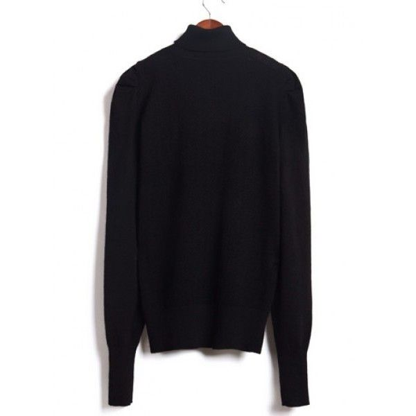 Black Puff Shoulder High Collar Bottoming Women Sweater @MF8620b ($22) via Polyvore