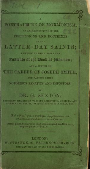a Portraiture of Mormonism, c1849